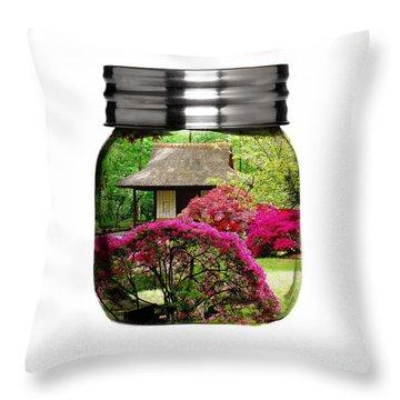 Home Flower Garden In A Glass Jar Art Throw Pillow by Marvin Blaine