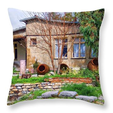 Throw Pillow featuring the photograph Home In Greece by Roberta Byram
