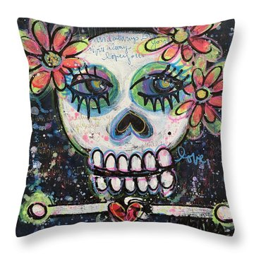 Home Is Wherever I Am With You An Abstract Skull Painting About Love Throw Pillow by Laurie Maves ART