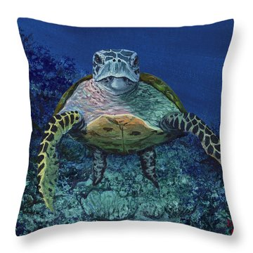 Home Of The Honu Throw Pillow