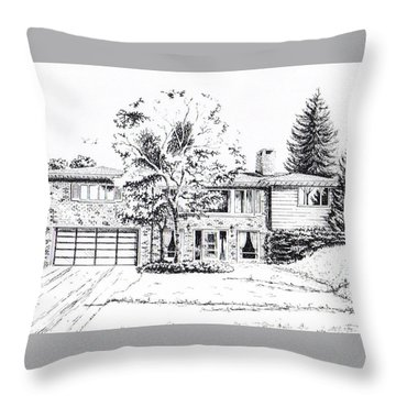 Home Portrait Throw Pillow