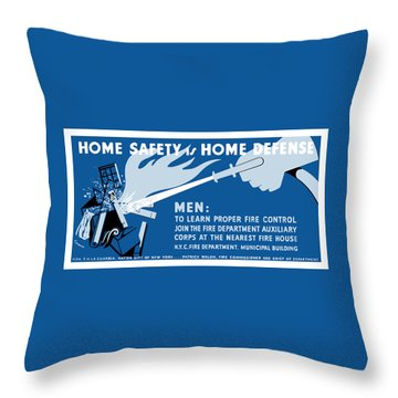 Throw Pillow featuring the painting Home Safety Is Home Defense by War Is Hell Store
