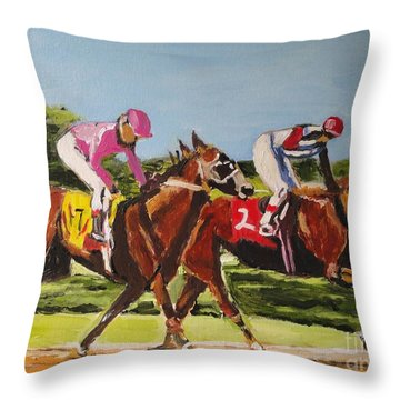 Throw Pillow featuring the painting Home Stretch by Judy Kay