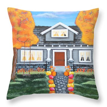 Home Sweet Home - Comes Autumn Throw Pillow