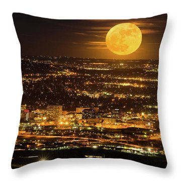 Home Sweet Hometown Bathed In The Glow Of The Super Moon  Throw Pillow