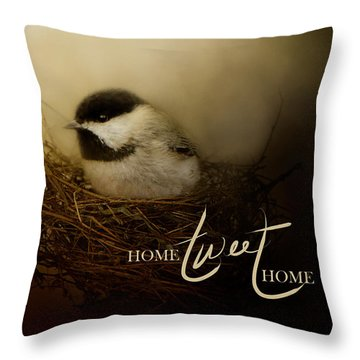Home Tweet Home With Words Throw Pillow by Jai Johnson