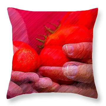 Homegrown Red Ripe Tomatoes Throw Pillow by Lewis Lang