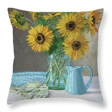 Homegrown - Sunflowers In A Mason Jar With Gardening Gloves And Blue Cream Pitcher Throw Pillow