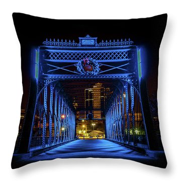 Homeless Winter Night On Wells Street Bridge - Fort Wayne Indiana Throw Pillow