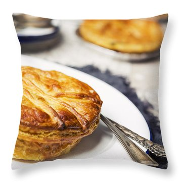 Homemade Meat Pie And Beer On A Rustic Table Throw Pillow