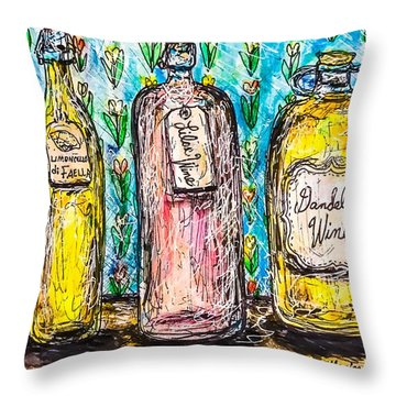 Throw Pillow featuring the painting Homemade Wine by Monique Faella