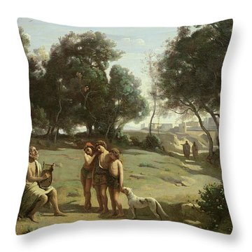 Homer And The Shepherds In A Landscape Throw Pillow by Jean Baptiste Camille Corot