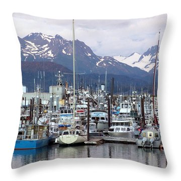 Homer Harbor Throw Pillow by Marty Koch