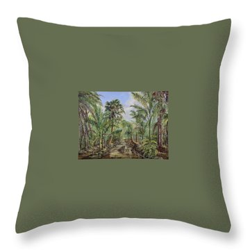 Throw Pillow featuring the painting Homestead Tree Farm by AnnaJo Vahle