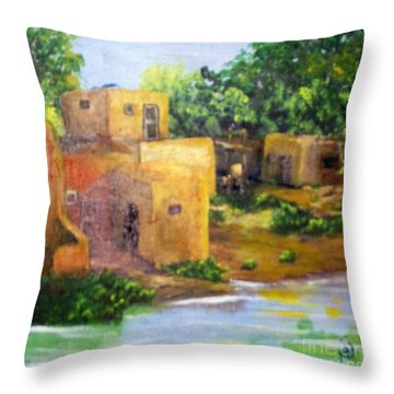 Throw Pillow featuring the painting Hometown by Saundra Johnson