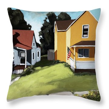 Hometown - Urban Scene Oil Painting Throw Pillow