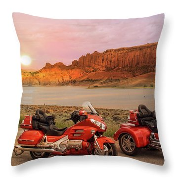 Throw Pillow featuring the photograph Honda Goldwing Bike Trike And Trailer by Patti Deters