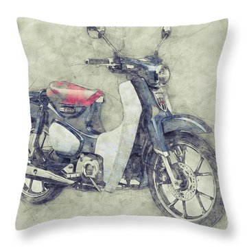 Honda Super Cub 1 - Motor Scooters - 1958 - Motorcycle Poster - Automotive Art Throw Pillow