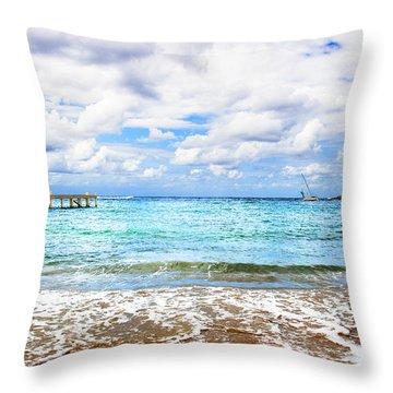 Honduras Beach Throw Pillow
