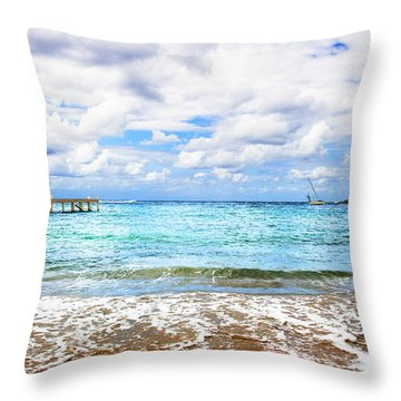 Honduras Beach Throw Pillow