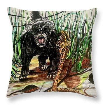 Honey Badger Throw Pillow