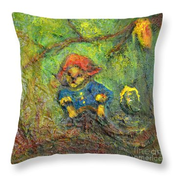 Honey Bear Throw Pillow by Claire Bull