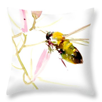 Honey Bee And Pink Flower Throw Pillow
