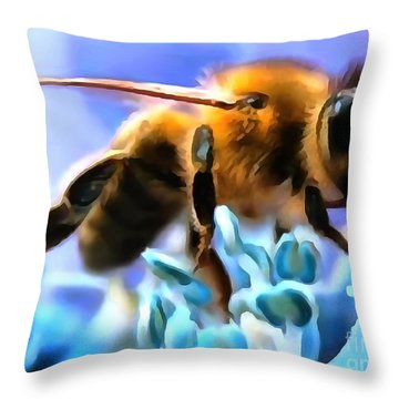 Honey Bee In Interior Design Thick Paint Throw Pillow