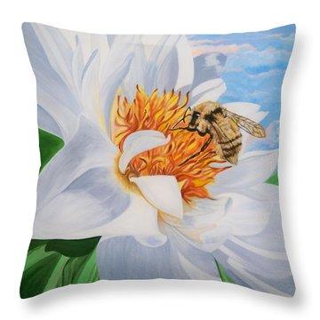 Honey Bee On White Flower Throw Pillow