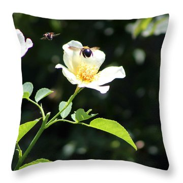 Honey Bees In Flight Over White Rose Throw Pillow