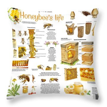 Honey Bees Infographic Throw Pillow by Gina Dsgn