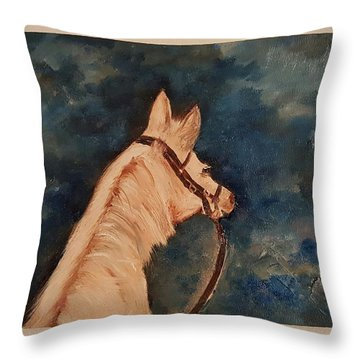 Honey Palomino Horse 28 Throw Pillow