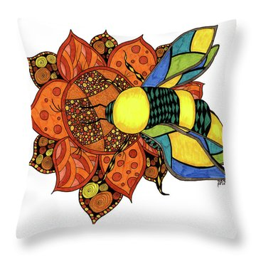 Honeybee On A Flower Throw Pillow