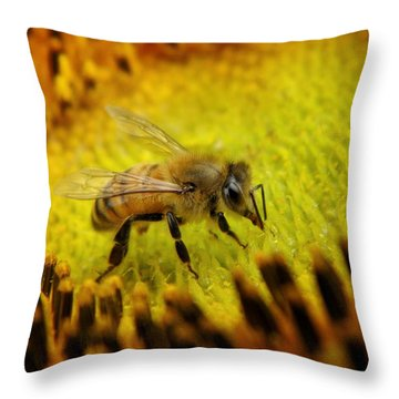 Throw Pillow featuring the photograph Honeybee On Sunflower by Chris Berry