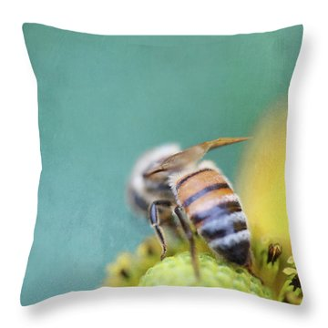 Honeybee On Teal Blue And Yellow Throw Pillow