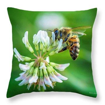 Honeybee On White Clover..... Throw Pillow