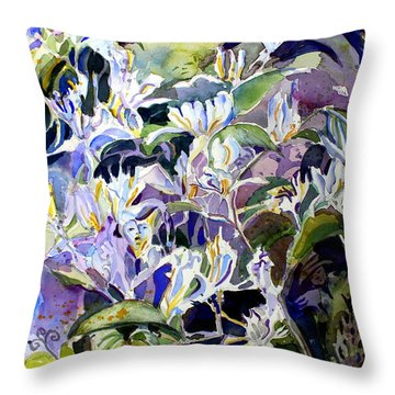 Honeysuckle Fairies Throw Pillow by Mindy Newman