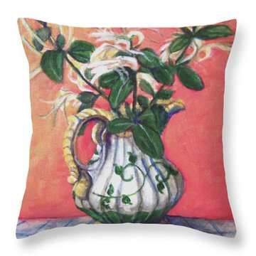 Throw Pillow featuring the painting Honeysuckle by Laura Aceto