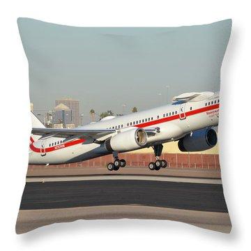 Honeywell Boeing 757-225 N757hw Phoenix Sky Harbor January 14, 2016 Throw Pillow by Brian Lockett