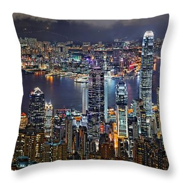 Hong Kong At Dusk Throw Pillow by Jeff S PhotoArt