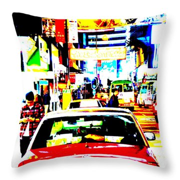 Hong Kong Cabs Throw Pillow