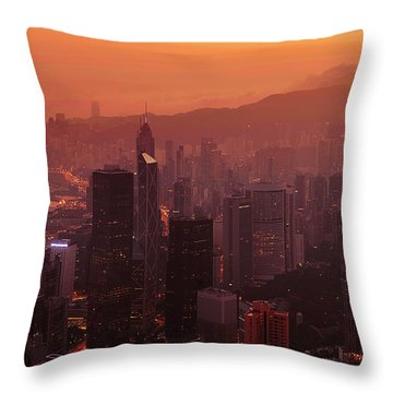 Throw Pillow featuring the photograph Hong Kong City View From Victoria Peak by Pradeep Raja Prints