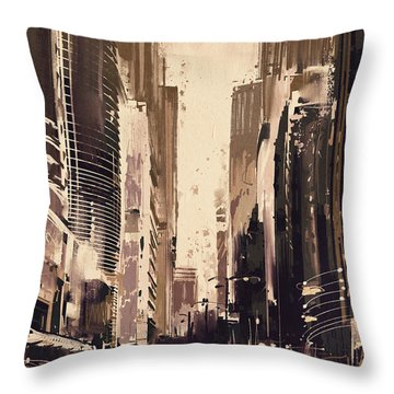 Hong-kong Cityscape Painting Throw Pillow