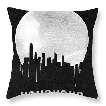 Hong Kong Skyline Black Throw Pillow by Naxart Studio