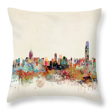 Throw Pillow featuring the painting Hong Kong Skyline by Bri B
