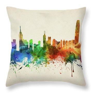 Hong Kong Skyline Chhk05 Throw Pillow