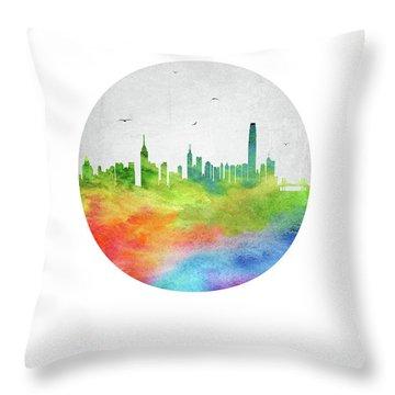 Hong Kong Skyline Chhk20 Throw Pillow