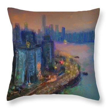 Hong Kong Skyline Painting Throw Pillow
