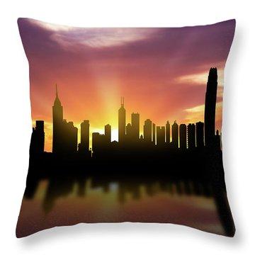 Hong Kong Skyline Sunset Chhk22 Throw Pillow