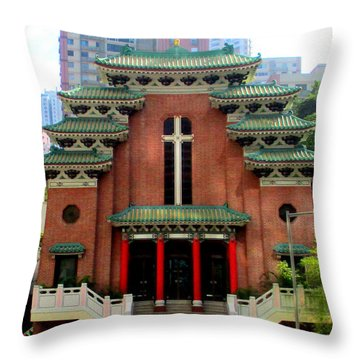 Throw Pillow featuring the photograph Hong Kong Temple by Randall Weidner